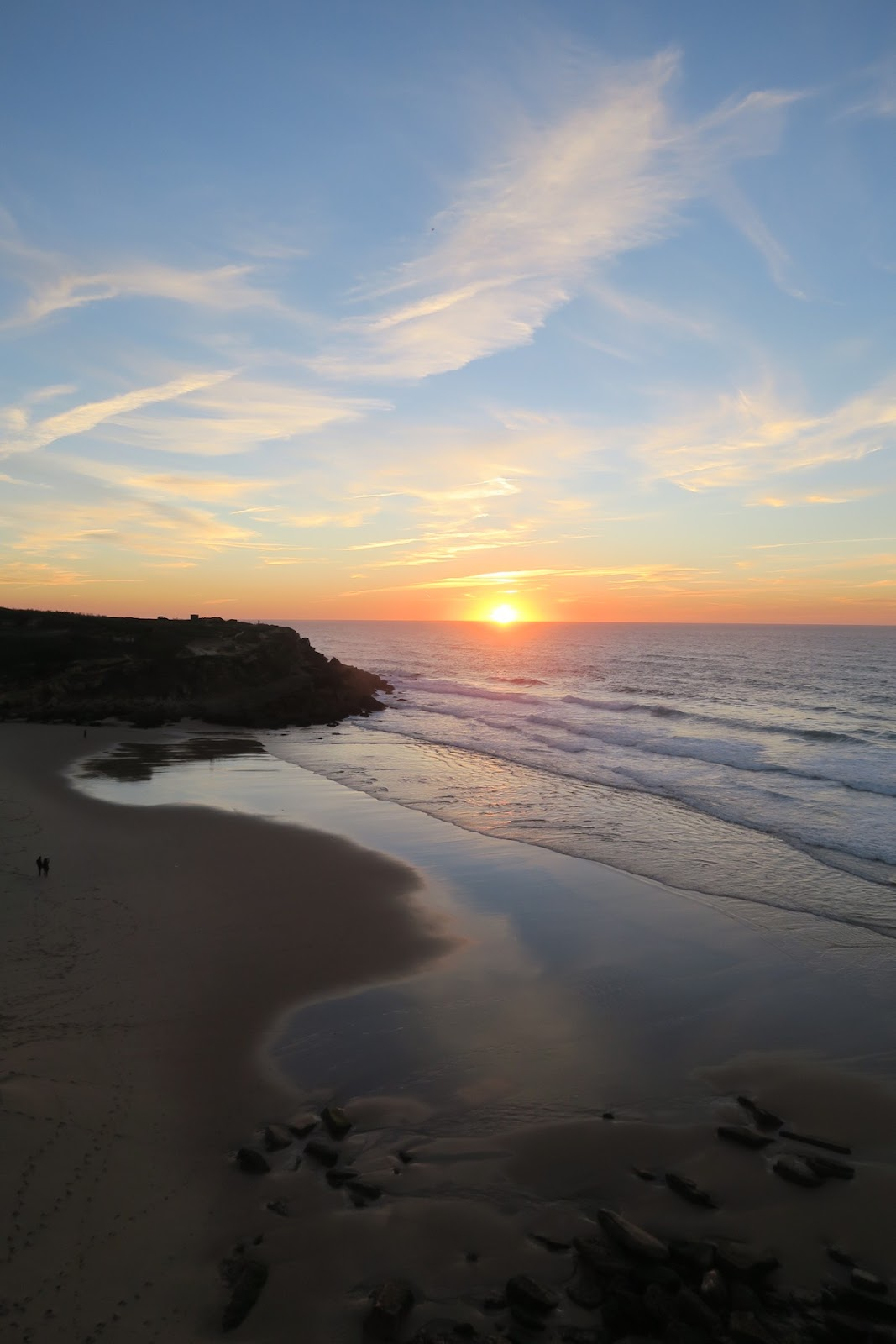 This is a picture of the sunset in Sintra, at Praia das Macas.