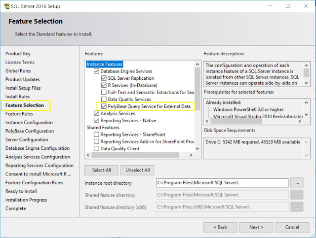 SQL Server - Feature Selection
