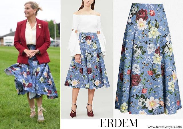 Countess of Wessex wore ERDEM Vesper floral print crepe midi skirt