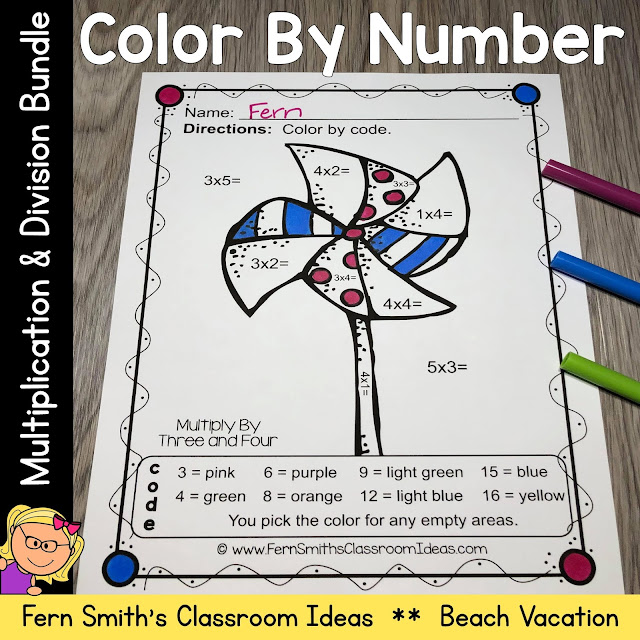 Click Here for the Color By Number Multiplication and Division Beach Vacation Fun Printable Worksheets Resource BUNDLE