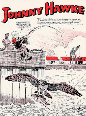 Beano Annual 1973, Johnny Hawke goes fishing down the docks, with his pet osprey and kestrel