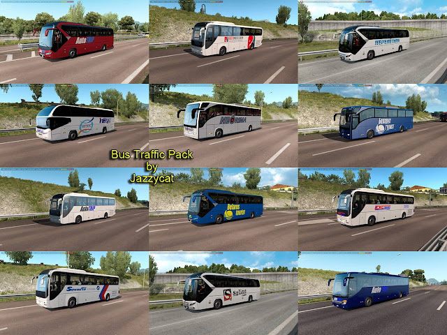 ets 2 bus traffic pack v7.1 by jazzycat screenshot, new buses