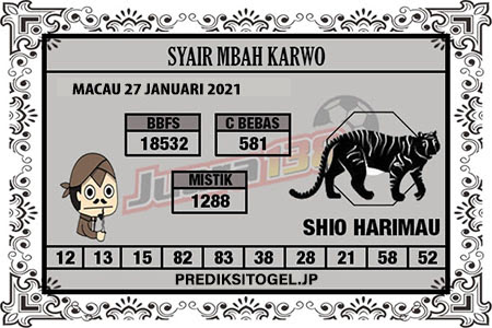 Syair Mbah Karwo Togel Macau Rabu, 27 Januari 2021