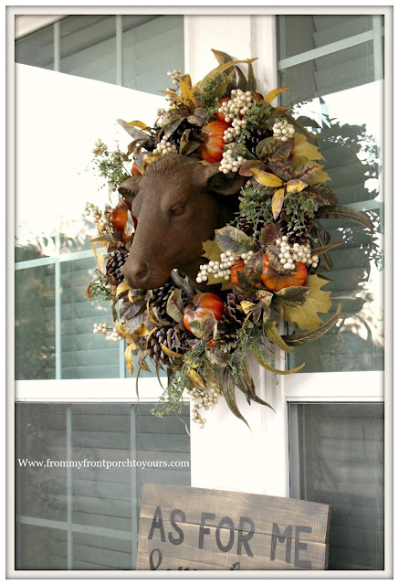 Fall Porch Decorations-Estate Stone Cow Head-Pumpkin Wreath-Balsam Hill-Farmhouse Style-From My Front Porch To yours