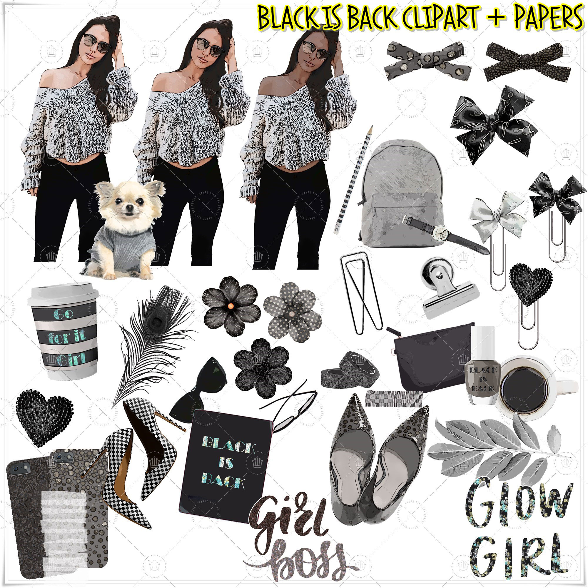 Black is back clipart set only in Etsy