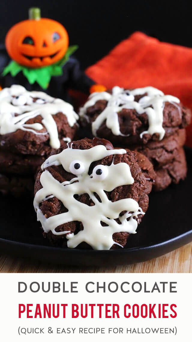 An easy 20-minute recipe for homemade double chocolate peanut butter cookies that are thick, soft & cakey. Fix these soft & cakey flourless cookies when you're craving a homemade dessert that's extra chocolatey but not too sweet. For holidays like Halloween, turn these into decorated triple chocolate cookies by drizzling with white chocolate then top with candy eyeballs (for Mummy Cookies) or colored sprinkles. (gluten-free, grain-free & dairy-free))