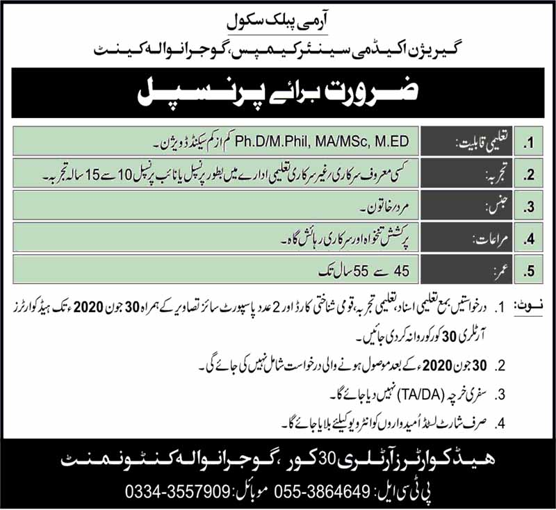 Jobs in Garrison Academy Senior Campus Gujranwala