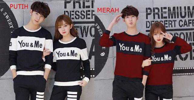 Jual Online Sweater You Me Block Couple Murah Jakarta Bahan Babytery Terbaru