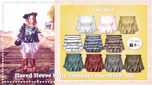 {amiable}Flared Sleeve & Off-shoulder Oversized Top@Whimsical(50%OFF SALE).