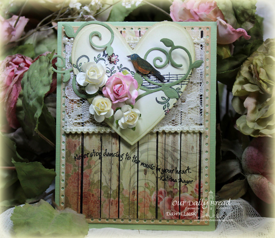 Stamps - Our Daily Bread Designs Music Speaks, ODBD Custom Faithful Fish Die and Debossing Plate, ODBD Blushing Rose Paper Collection, ODBD Custom Ornate Hearts Die, ODBD Custom  Fancy Foliage Die