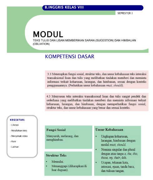 Modul Bahasa Inggris Kelas 8 SMP/MTs (Daring / Luring)