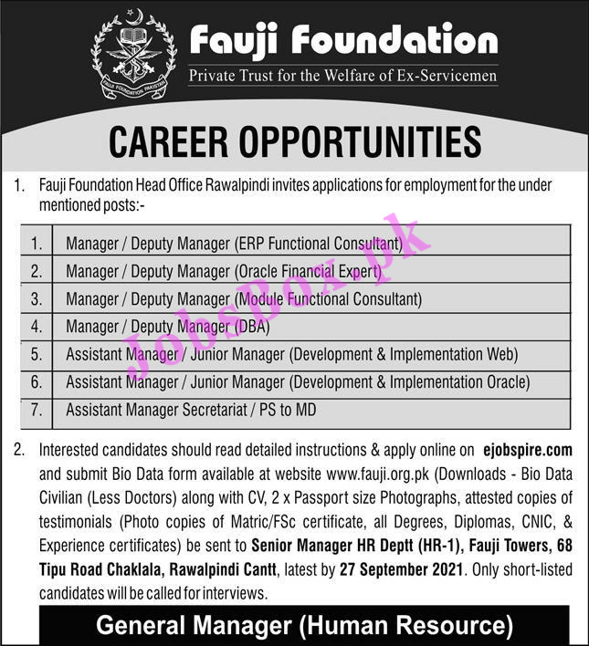 ejobspire.com - Fauji Foundation Rawalpindi Jobs 2021 in Pakistan