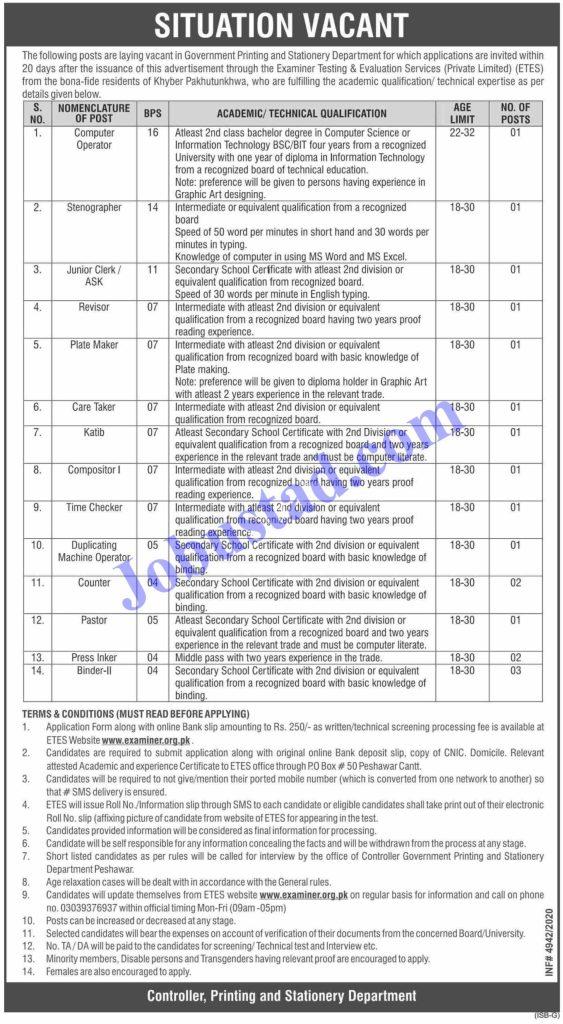 www.examiner.org.pk - Printing & Stationery Department Jobs 2021 - Download Job Application Form - Download Challan Form - KPK Jobs
