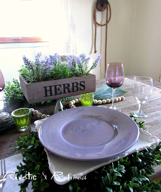 Simple and pretty tablescape using purple and white.