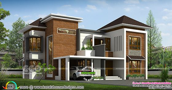 Modern house rendering view