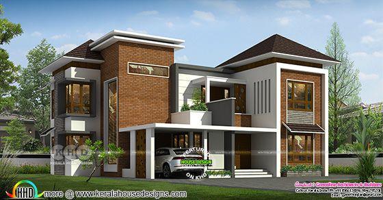 Modern house rendering view