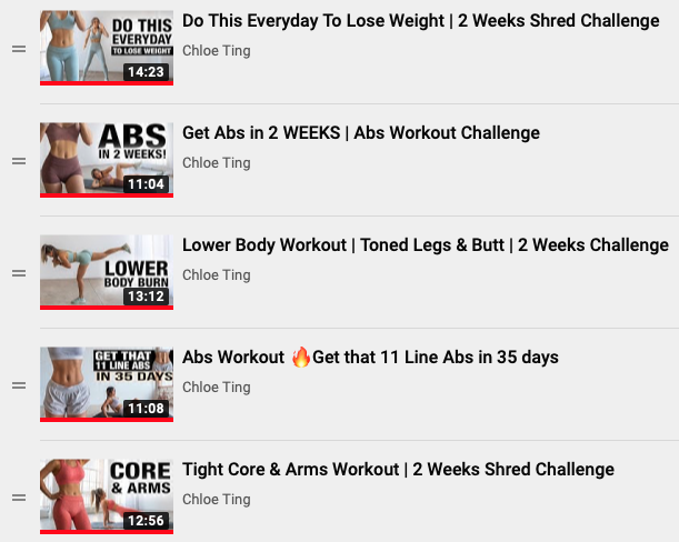 Screenshot of the 5 YouTube videos for Chloe Ting's 2 Week Challenge Workout