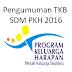Pengumuman Hasil Seleksi TKB SDM PKH 2016