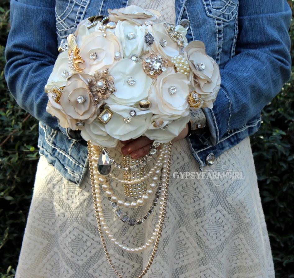 Gypsyfarmgirl vintage glam satin fabric wedding bouquets great gatsby theme wedding bridal bouquet izmirmasajfo
