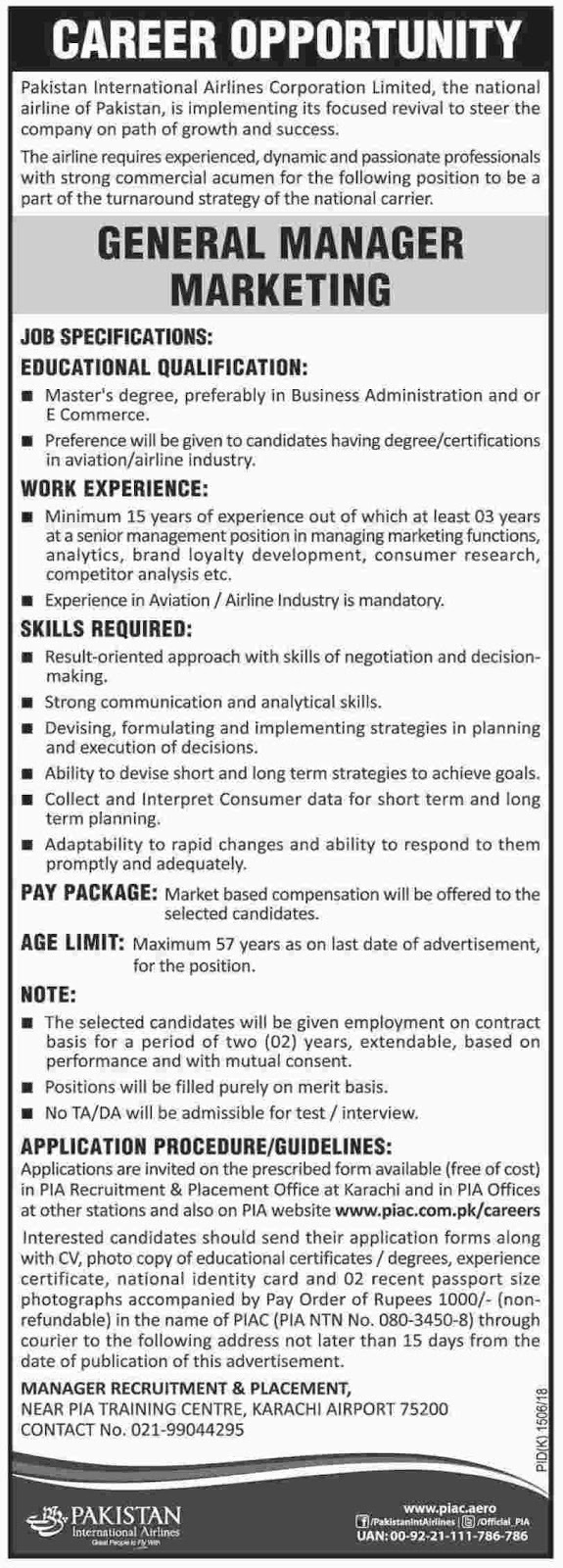 Managers Jobs in  Pakistan International Airlines Karachi  November 1st 2017.