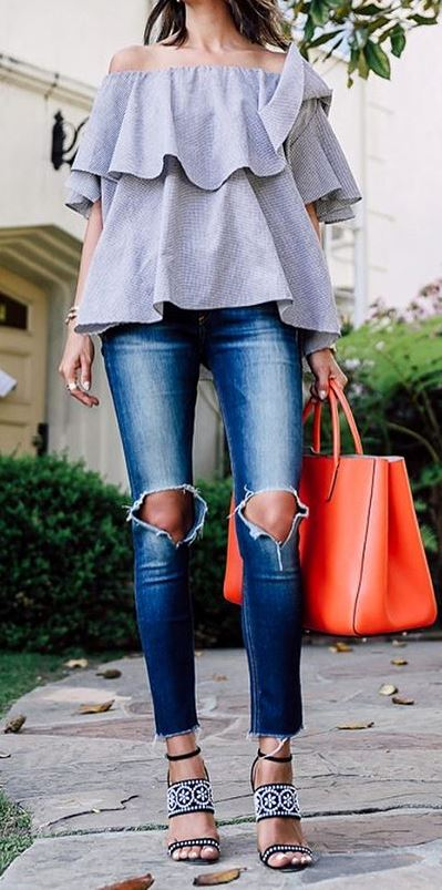 fashion trends outfit; top + skinny jeans + bag + heels