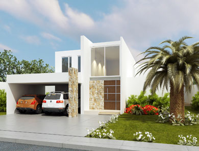 Fachadas minimalistas elegante fachada minimalista con for Fachada minimalista dos plantas