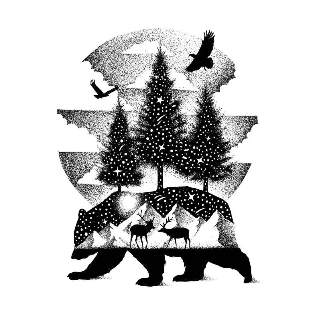 10-A-Night-In-Alaska-Bear-Deer-and-Eagles-Thiago-Bianchini-Ink-Animal-Drawings-Within-a-Drawing-www-designstack-co