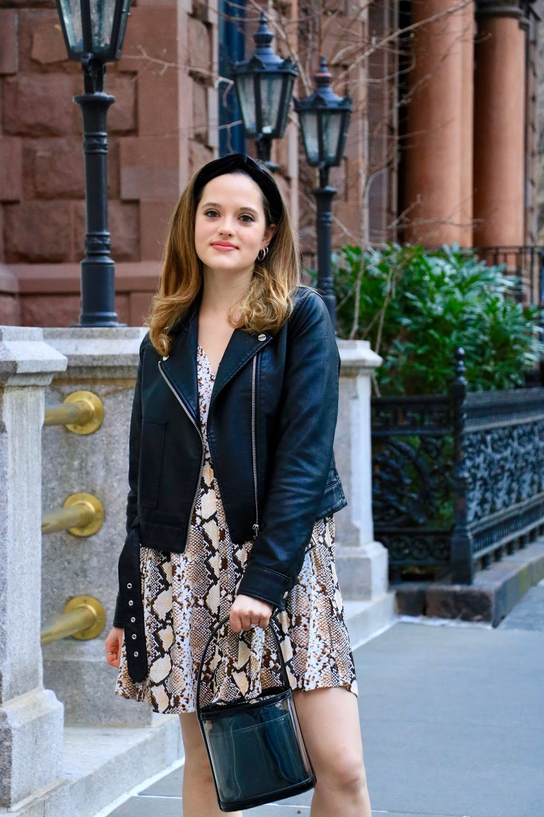 Nyc fashion blogger Kathleen Harper wearing a leather jacket outfit for spring or fall.