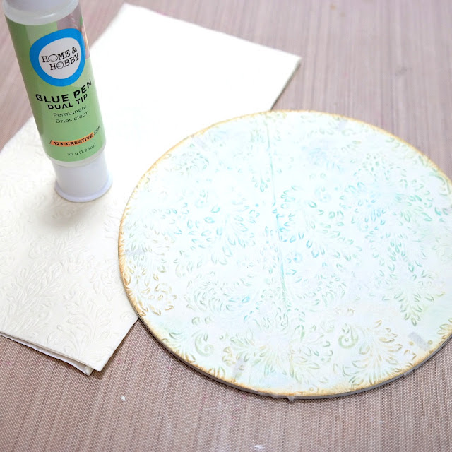 How to Apply Embossed Napkins to Masonite by Dana Tatar