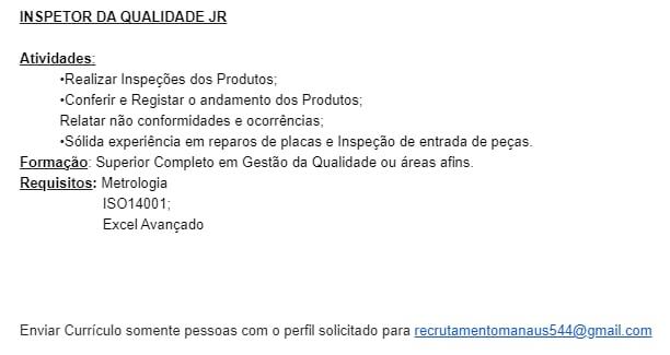 INSPETOR DA QUALIDADE JR