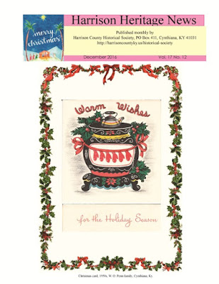 Image of the cover of the December 2016 issue of the Harrison Heritage News (Vol. 17, No. 12)