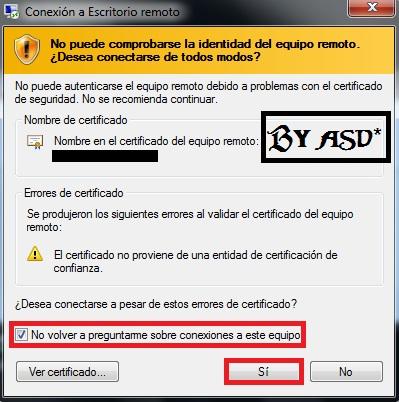 Aceptando dialogo de certificado