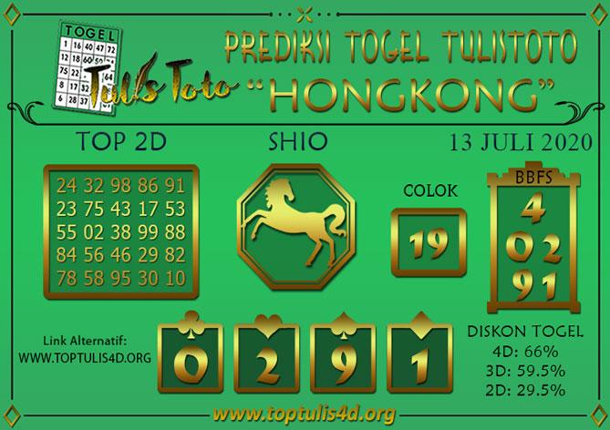 Prediksi Togel HONGKONG TULISTOTO 13 JULI 2020