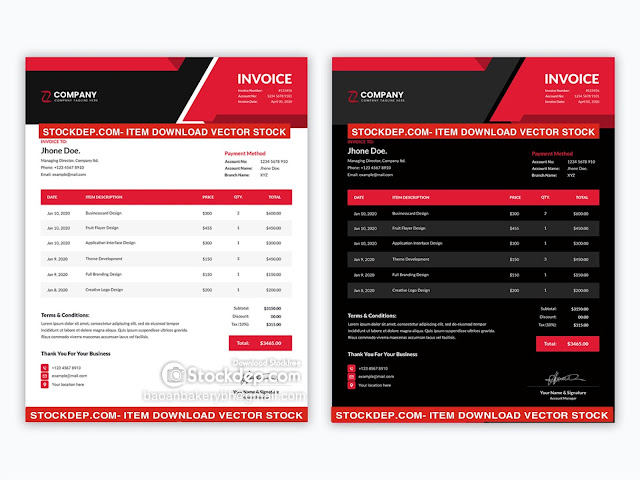 Minimal corporate red light and dark variation invoice template FREE eps
