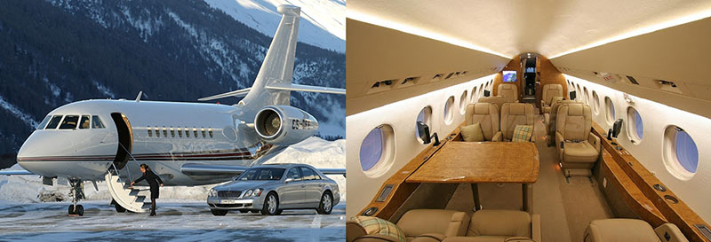Самолёт Falcon 2000 и его салон