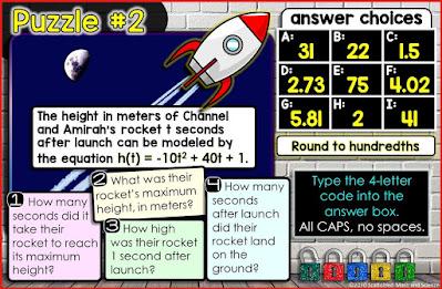 Quadratic Word Problems Digital Math Escape Room