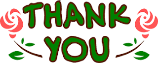Thank you text in green, bordered by roses