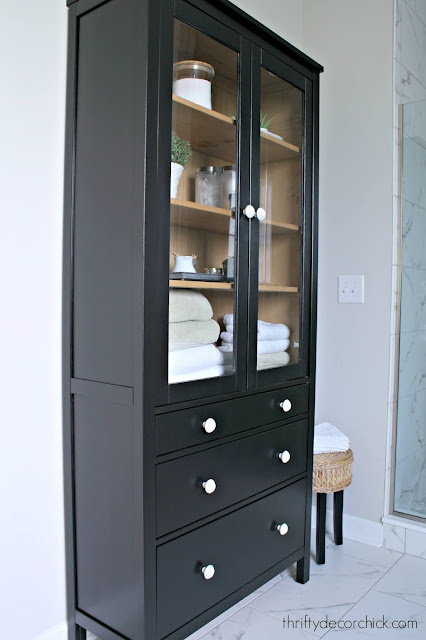 IKEA hemnes tall cabinet with glass doors