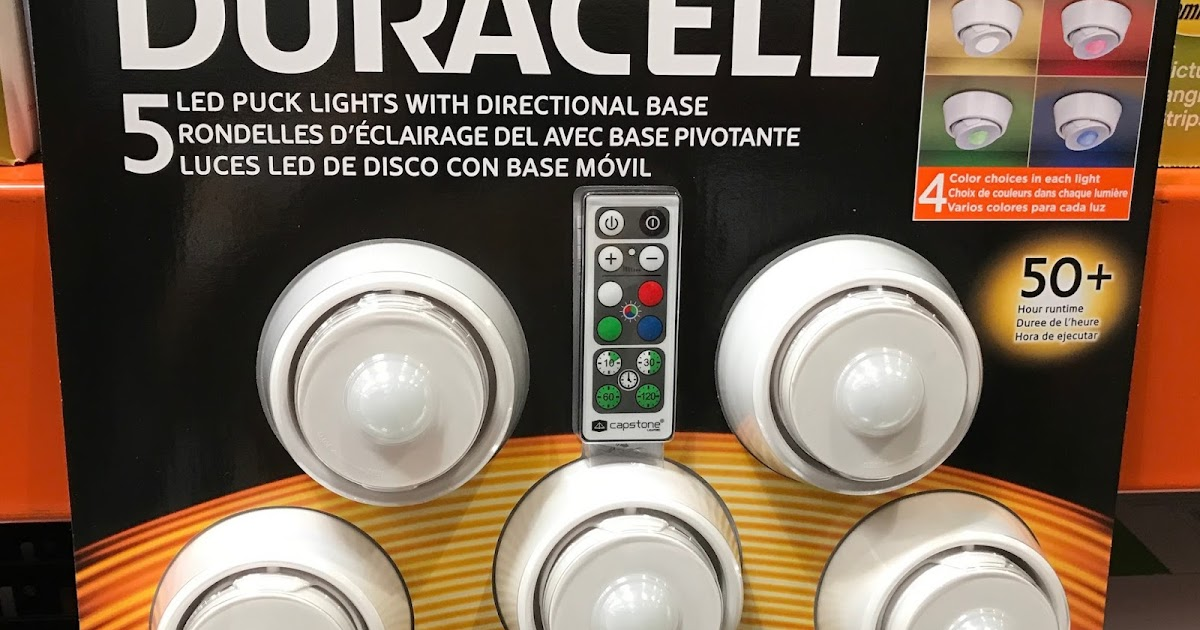 Duracell Led Puck Lights With Directional Base 5 Pack
