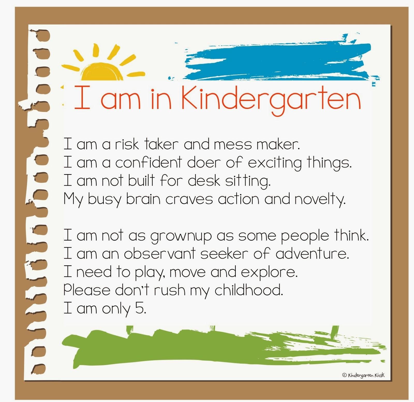 Kindergarten Kiosk Justifying Kindergarten Play