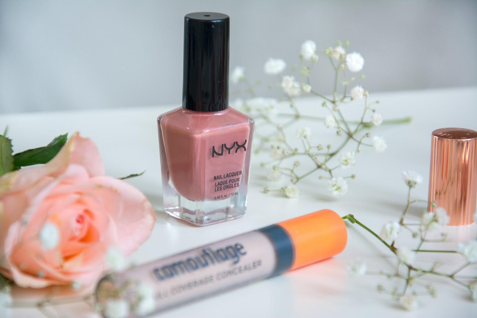 essence camouflage concealer; NYX Nail Polish; Makeup Revolution Renaissance Lipstick