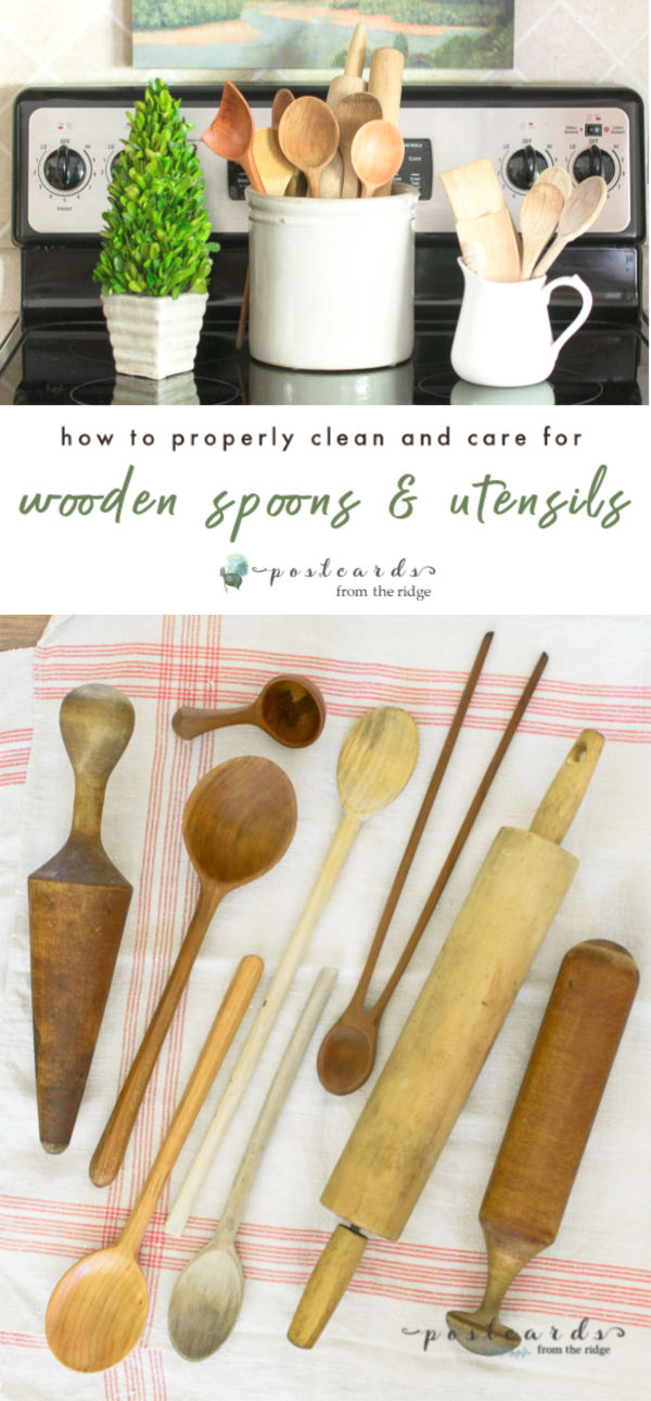 vintage wooden kitchen utensils