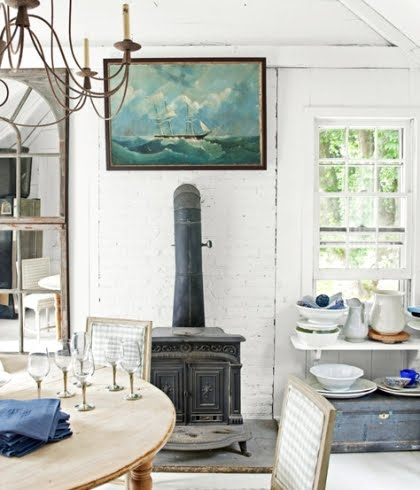 nautical cottage with marine art
