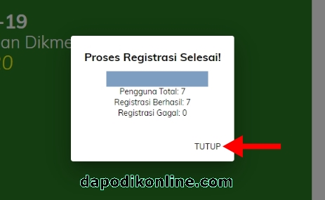 Proses Registrasi PMP EDS 2020 Covid-19 Selesai, klik Tutup