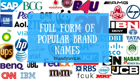 full form world popular brand names list