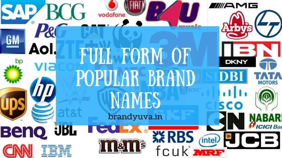 82+ Full Form of World's Famous Brand Names | Brandyuva.in