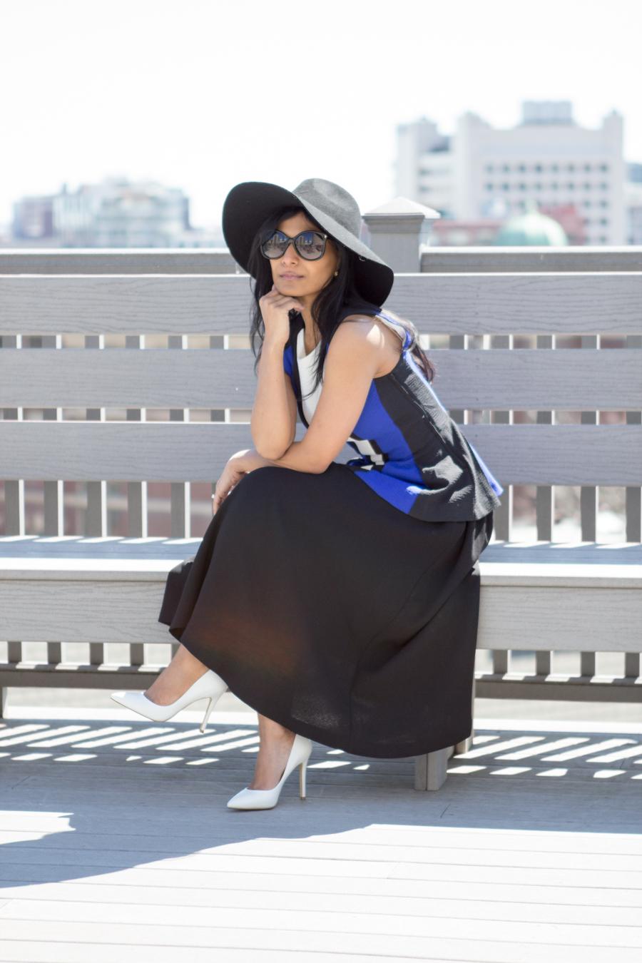 Peplum blouse and full circle skirt