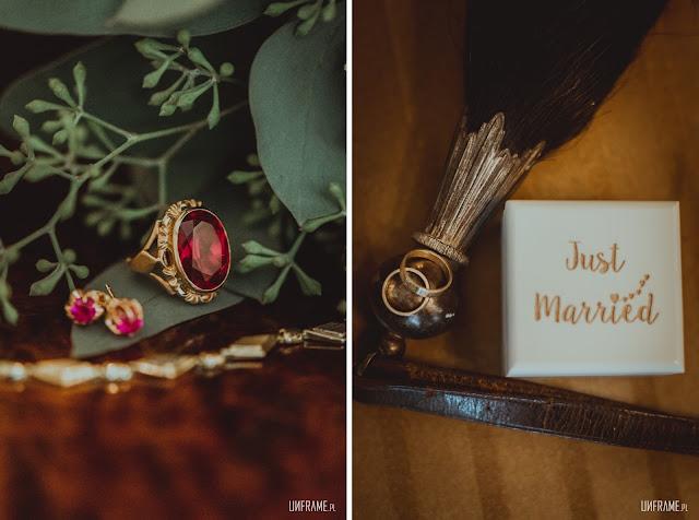 Biżuteria ślubna vintage i obrączki z przetopionego złota.