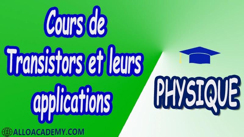 Cours de les transistors et leurs applications pdf