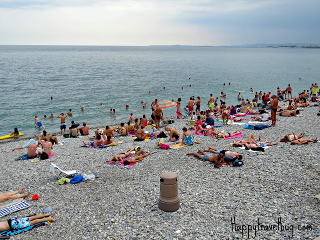 The French Riviera beach in Nice, France